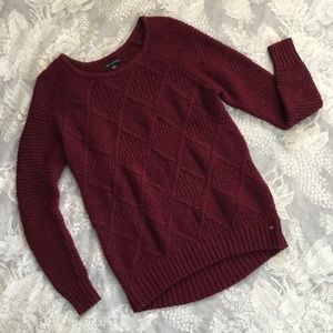 AEO Burgundy Knit Sweater